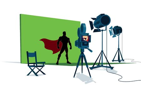 The set of a superhero movie with the leading actor in front of the camera and with green screen behind him.