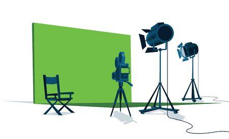 Film avec écran vert, caméra, lumières et chaise du réalisateur.