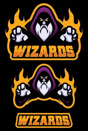 Mascot illustration of a powerful wizard casting a magic spell. Çizim