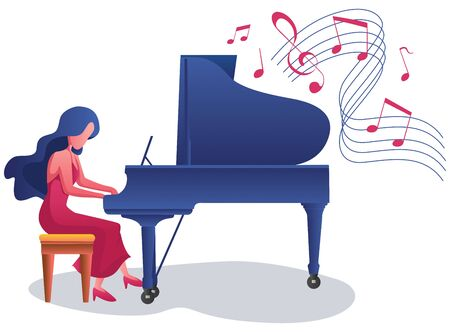 Beautiful girl playing the piano on white background.