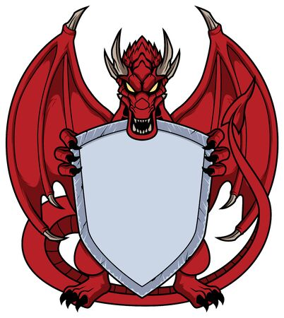 Mascot illustration with red dragon holding a shield with copy space.