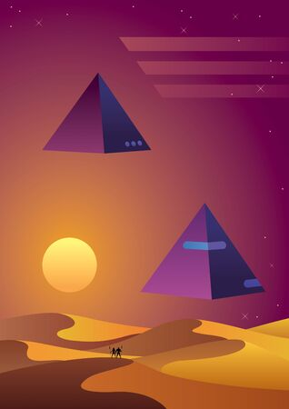 Synthwave background with desert at sunset and 2 flying pyramids over it.