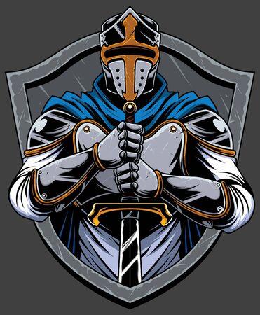 Cartoon mascot or logo with knight Templar.