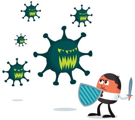 Conceptual illustration depicting businessman fighting a deadly virus.