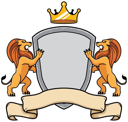 Insignia with 2 lions holding shield with crown on top and ribbon below.