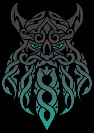 Cartoon mascot or logo with Celtic tangle face mascot of an old druid or Viking. 向量圖像