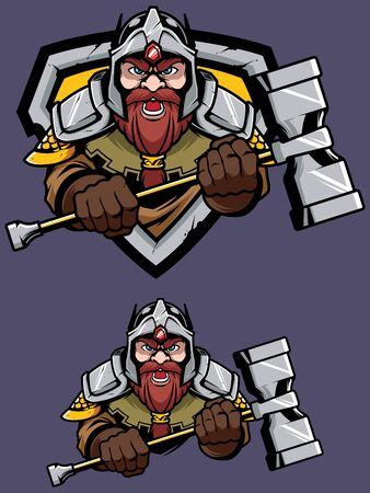 Cartoon mascot or logo with proud fierce dwarf warrior.