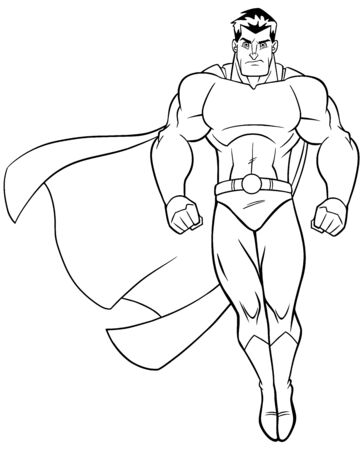 Full length line art illustration of powerful superhero looking down while soaring on white background.