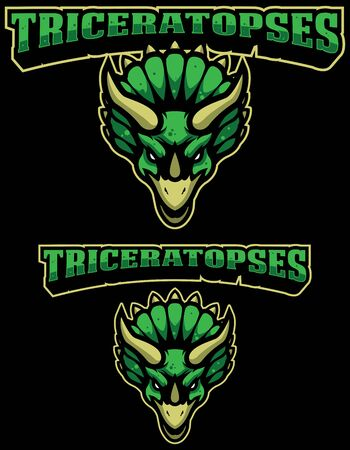 Angry green triceratops dinosaur mascot in 3 versions.