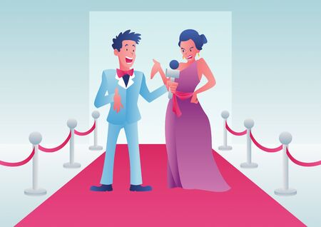 Cartoon illustration of a journalist interviewing a celebrity on a red carpet event. Vettoriali