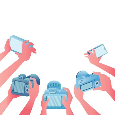 Cartoon illustration depicting a group of reporters at work on white background. Vettoriali