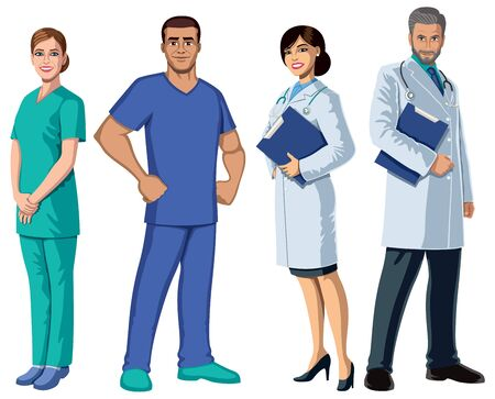 Set with health care workers on white background.