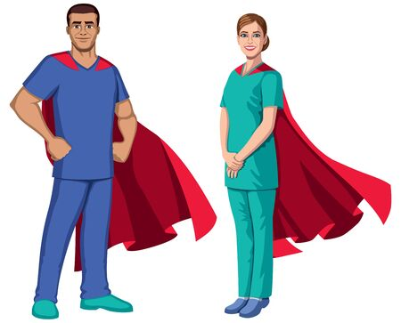 Male and female registered nurses or health care workers with superhero capes, on white background. Vettoriali