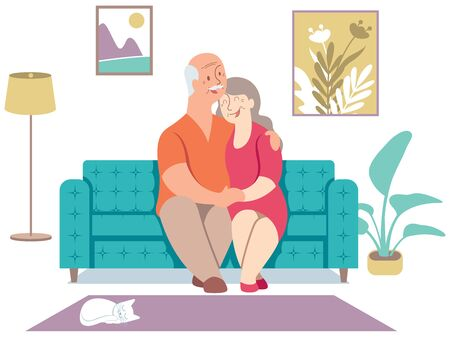 Flat design illustration with elderly couple sitting on their sofa at home. Vetores