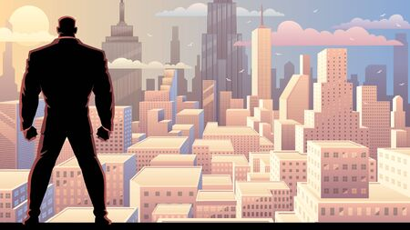 Businessman watching over city at sunrise or sunset. Vector Illustratie