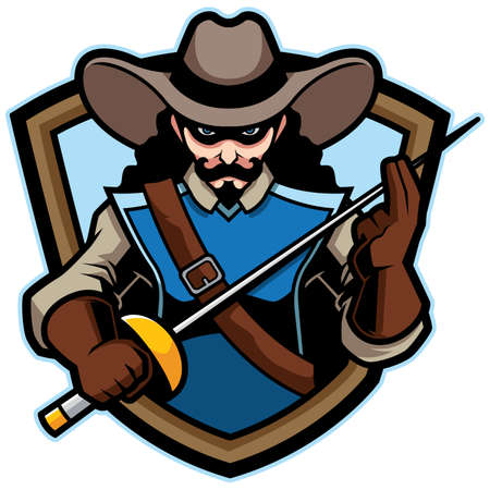 Cartoon mascot or logo with cartoon musketeer.