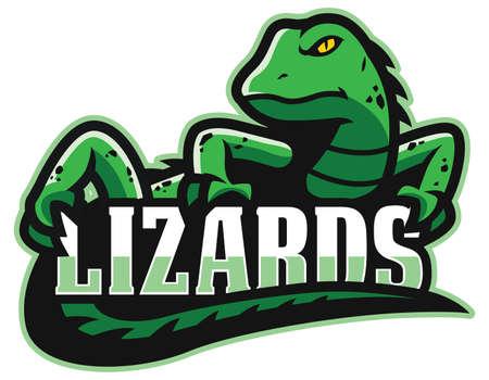 Cartoon green lizard mascot on white background.