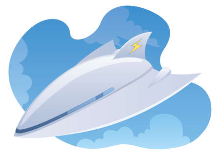 Vector illustration of electric plane flying high in the sky.