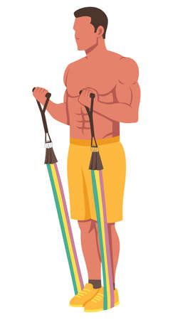 Flat design illustration with male character working out with resistance bands.
