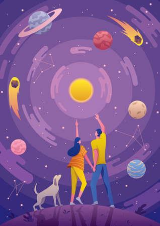 Conceptual illustration for astronomy or astrology, depicting young couple and their dog, looking at the night sky. Vecteurs