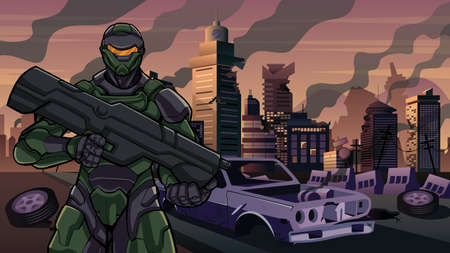 Illustration of futuristic soldier in high-tech exoskeleton armor suit holding big laser gun, in city in ruins.