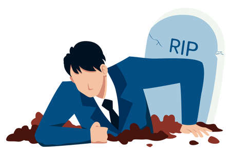 Flat design concept illustration with businessman digging himself out of his grave, as a metaphor for business recovery.