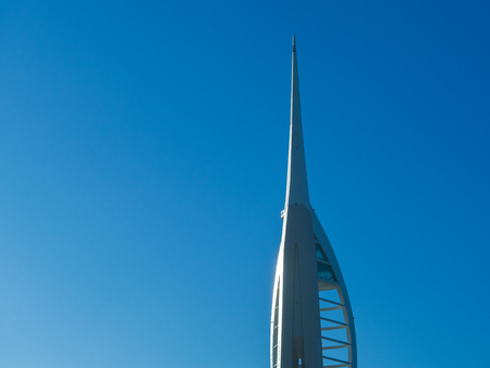Spinnaker Tower Portsmouth in clear blue sky with copy space
