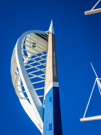 spinnaker: Spinnaker Tower Portsmouth in clear blue sky with copy space