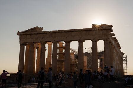 The beautiful ruins of the Acropolis in the city of Athens, Greece.