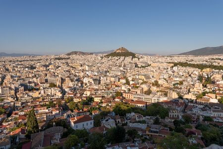 A panaromic view of the city of Athens, the capital city of Greece from a vantage point at the Acropolis.
