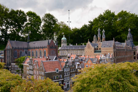 Miniature buildings or 1:25 scale model of a famous landmark of the Netherlands.