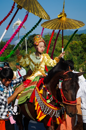 Buddhist Festival And Little Girl On The Horse