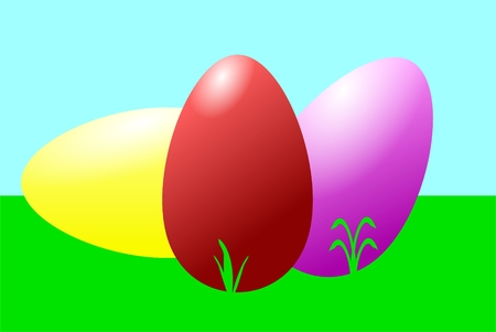 The picture shows Easter eggs on a meadow.