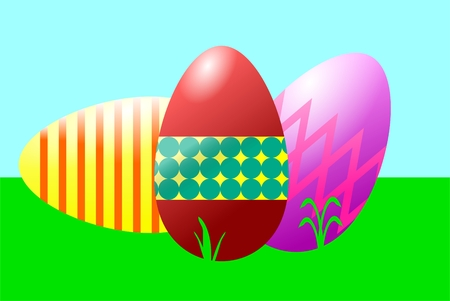 The picture shows easter eggs on a meadow. Vector