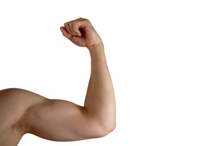 strained: The picture shows an arm with a strained biceps.  Stock Photo