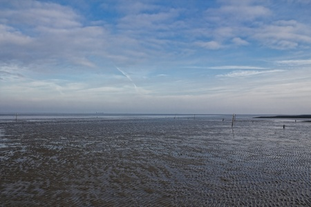 ebb: The picture shows the Wadden Sea at the North Sea. Stock Photo