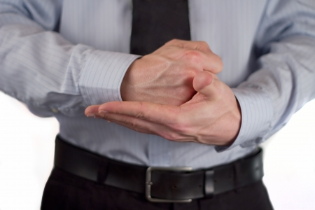 demonstrative: The picture shows a man making a gesture