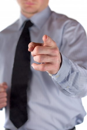 The picture shows a man making a gesture