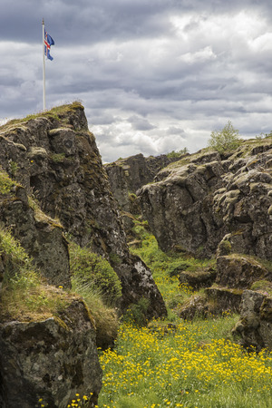 unaffected: The picture shows the Allmannagaja in Iceland. Stock Photo