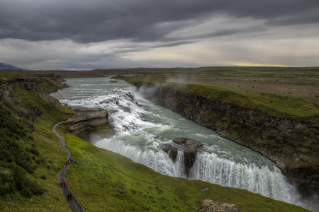 force of the nature: The picture shows the Gullfoss in Iceland. Stock Photo
