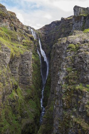 oft: The picture shows Glymur one oft he highest waterfalls in Iceland. Stock Photo