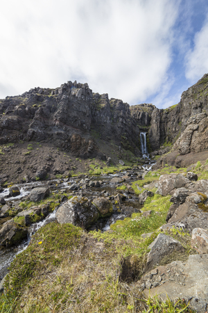 unaffected: The picture shows a beautiful waterfall in Iceland. Stock Photo
