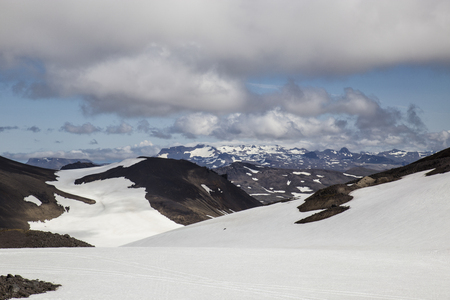 snowcat: The picture shows the view from Snaefellsjkull, there are so traces of a snowcat in the snow to see.