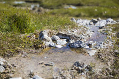 belongs: The picture shows a little creek which belongs to a hot spring. Stock Photo