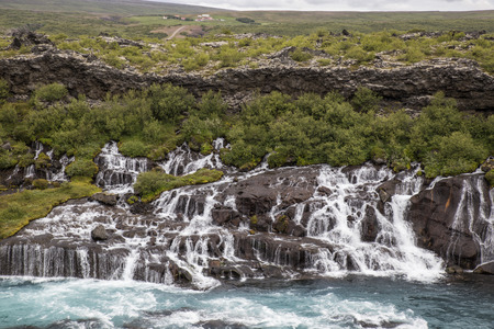 unaffected: The picture shows the waterfall Hraunfossar in Iceland. Stock Photo