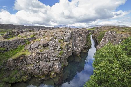 obrero: La imagen muestra el Silfra en el Parque Nacional de Thingvellir en Islandia. Foto de archivo