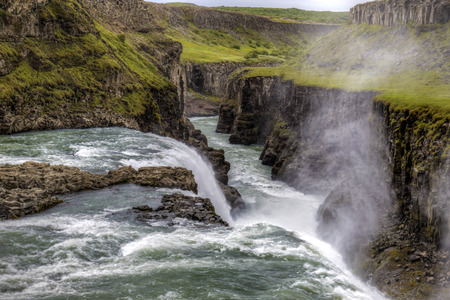 oft: The picture shows Gulfoss, one oft he biggest waterfalls in Iceland.