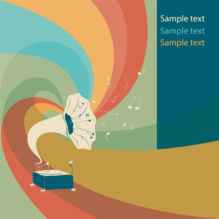 Vector retro colored gramophone with notes Vector