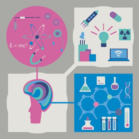 mankind: Flat vector set of science infographics with mockup of brain connected with symbols of physics, chymistry and achievements of the mankind