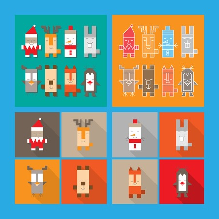Set of cute christmas and new year characters. Vector